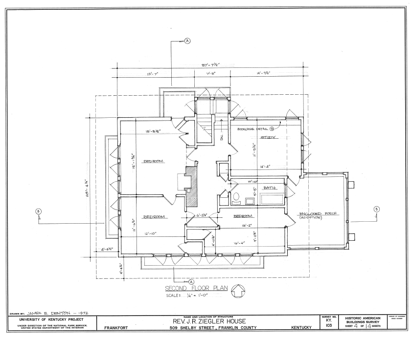 Blueprint of the Ziegler House second floor designed by Frank Lloyd Wright