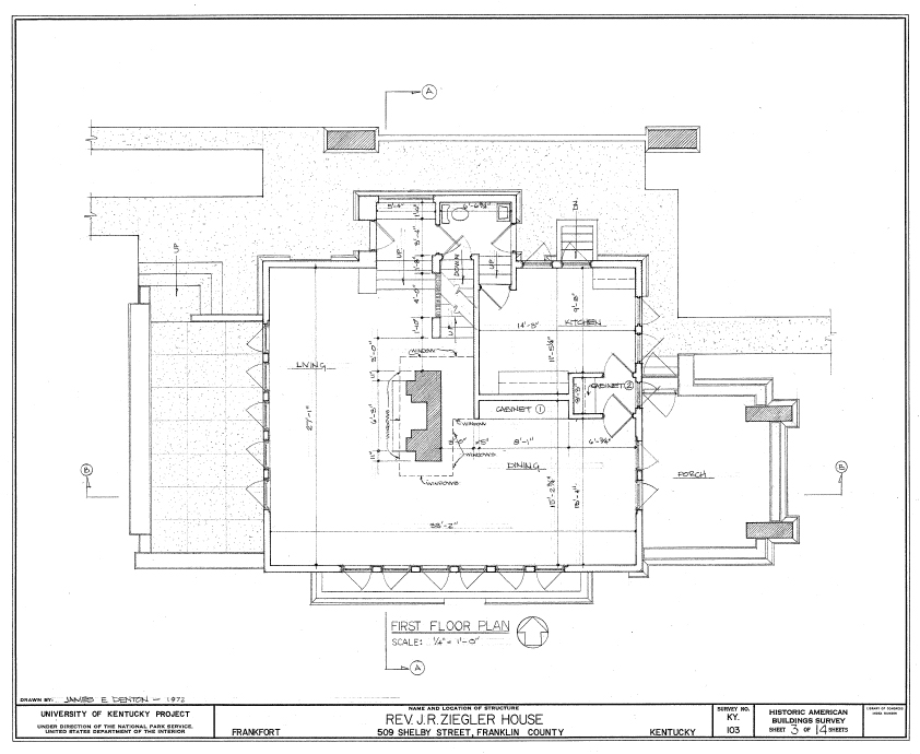 Blueprint of the Ziegler House first floor designed by Frank Lloyd Wright