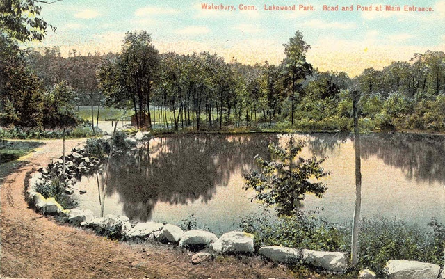 The main entrance where the road and pond meet. This issue was taken in 1907 and became a picture on a post card. A Mattatuck Museum, collection.