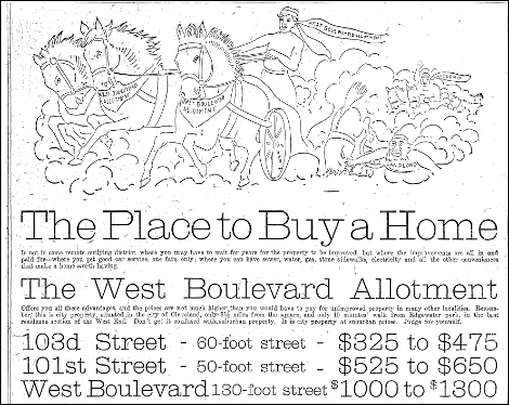 "1907 Advertisement for Plots in the West Boulevard Allotment. This ad personifies the subdivision as a Ben-Hur figure who triumphantly leaves two other charioteers-- labeled ""Landlord""-- in the dust. These advertisements appealed to first-time homeowners, who wanted the freedom and financial stability homeownership promises."