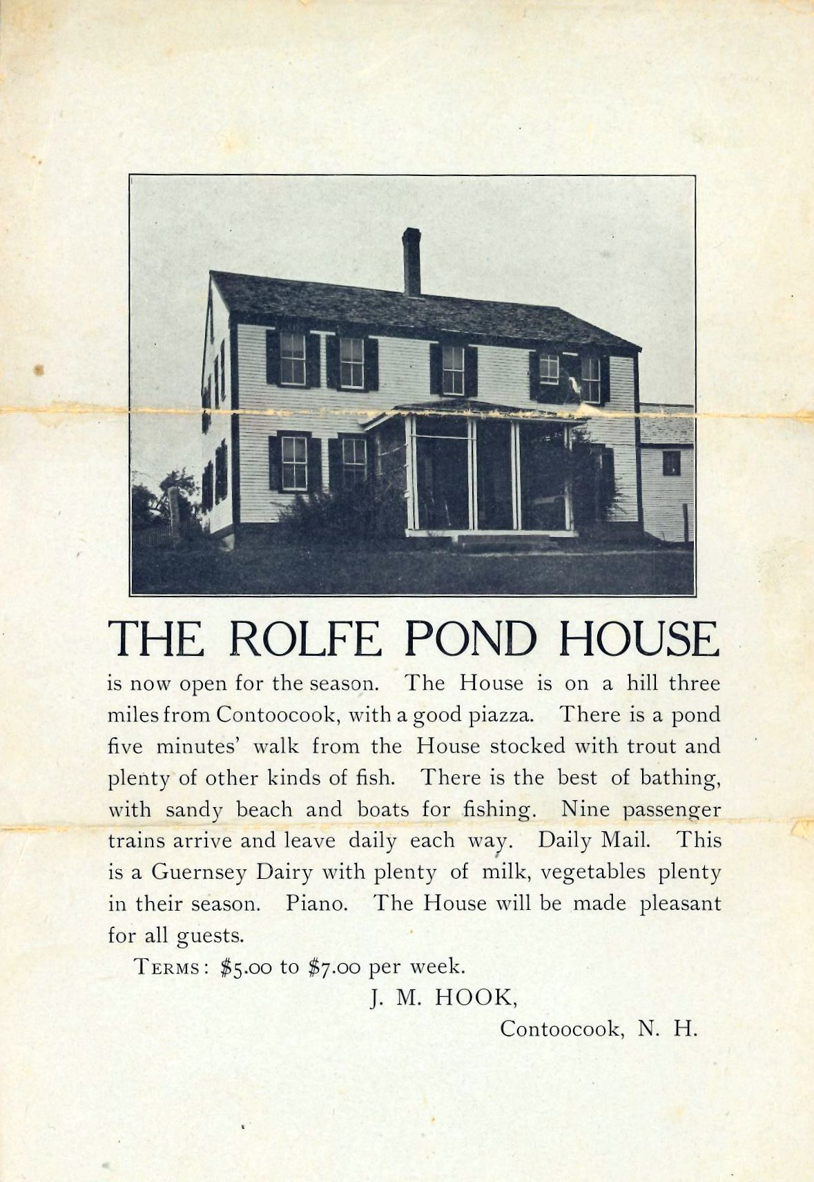 Advertising flyer for The Rolfe Pond House of Hopkinton, N.H.