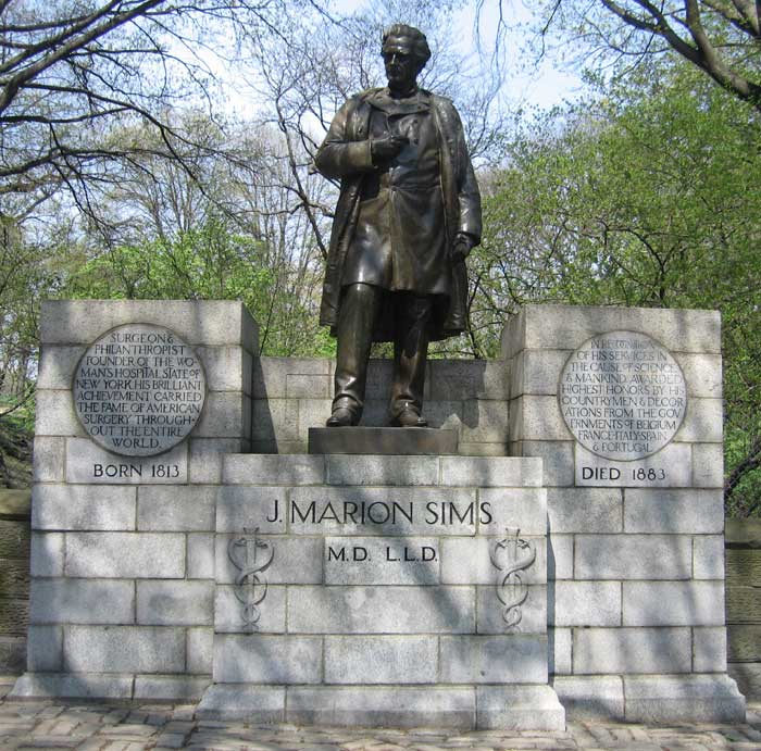 The James Marion Sims statue located in Central Park.