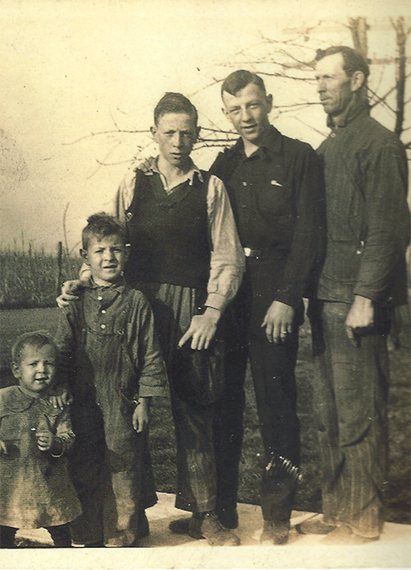 John Wooden with his father, brothers, and sister