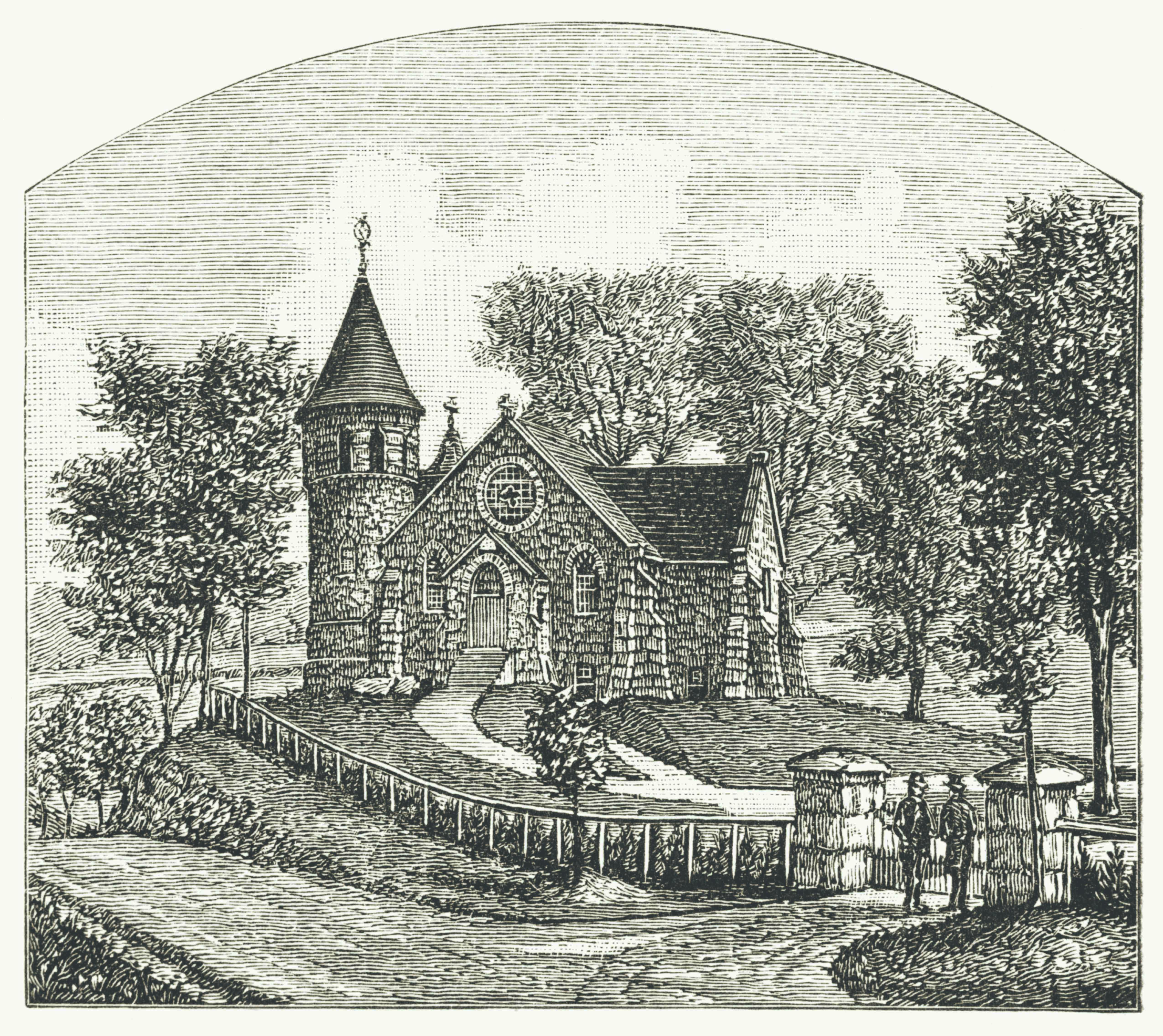 The Worthington Memorial Chapel (now St. Joseph of Arimathea Church) in 1886.