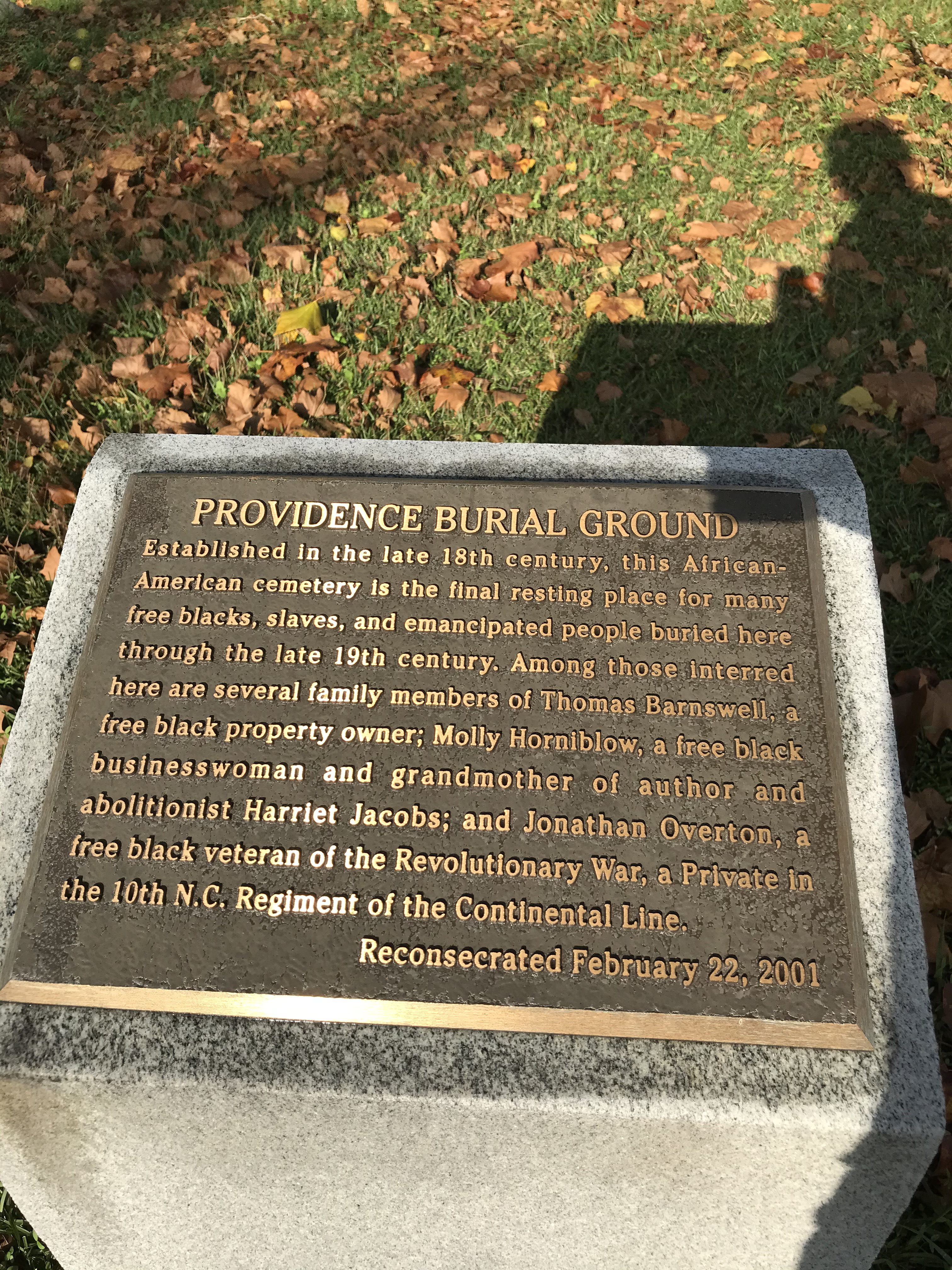 Historic marker placed at grave site in February 2002 for commemoration ceremony