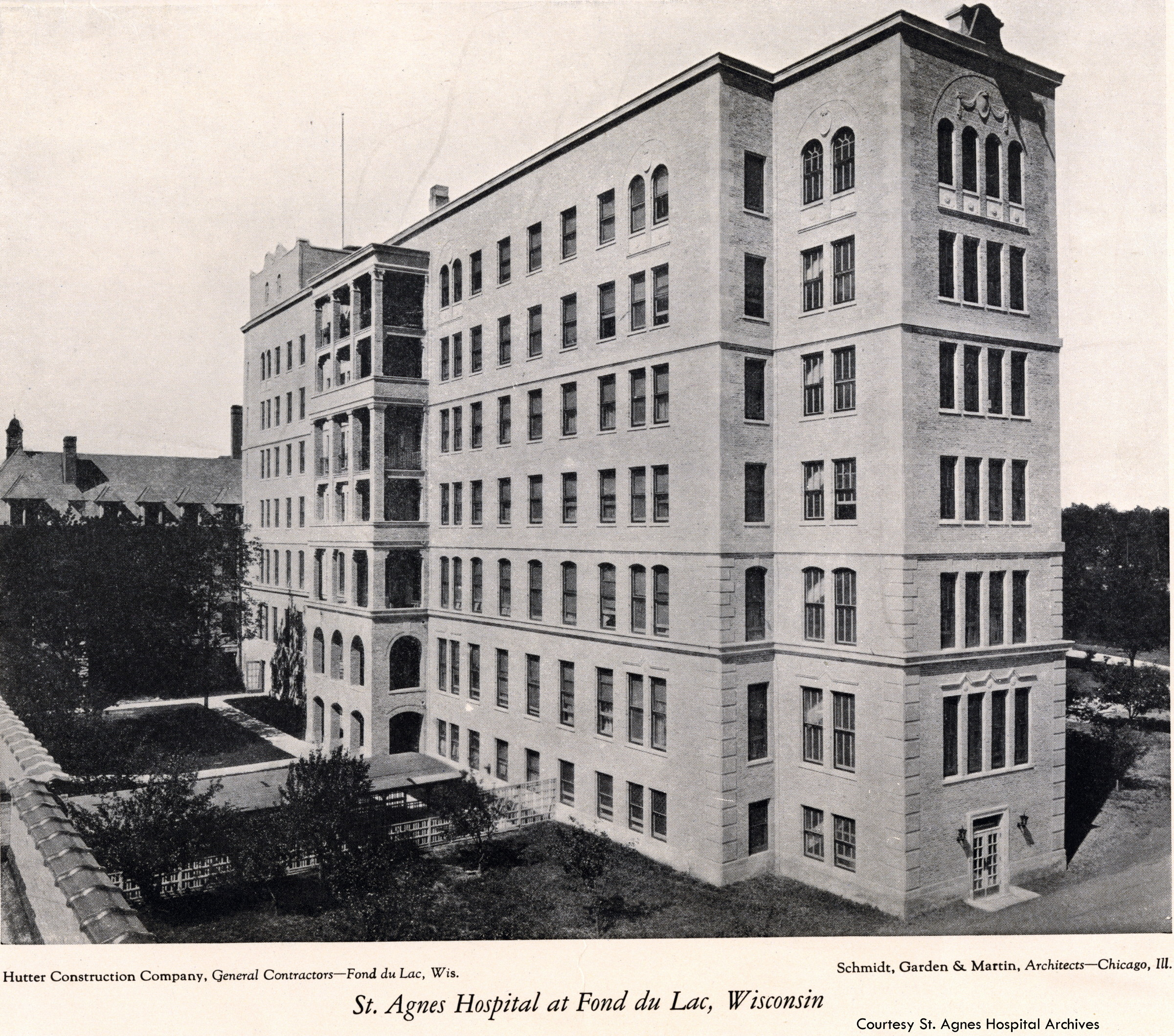 New St. Agnes Hospital building, c. 1925.