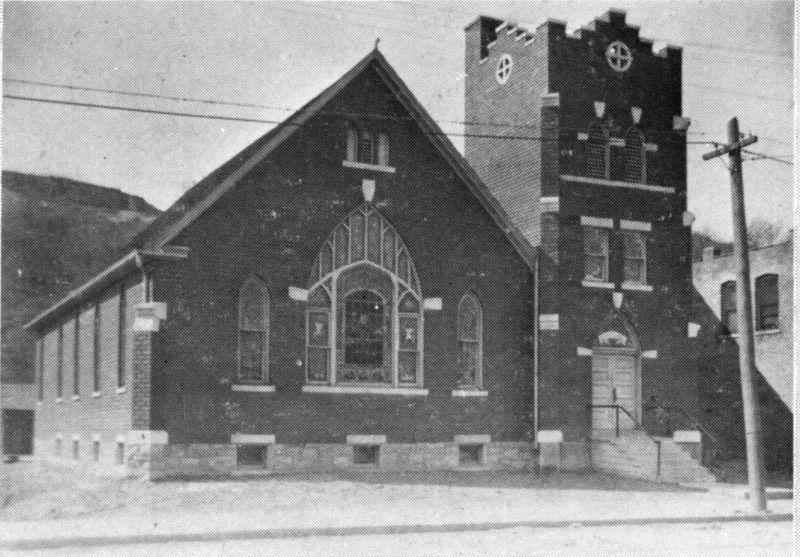 An early photo of the church, after a brick veneer and other renovations were done.