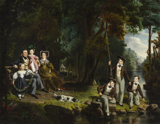 Painting of Alexander Masterton, with wife and children .