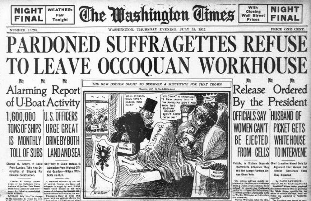 Washington Times headline of July, 19, 1917 helped break the story of the suffragists and their experience in the prison