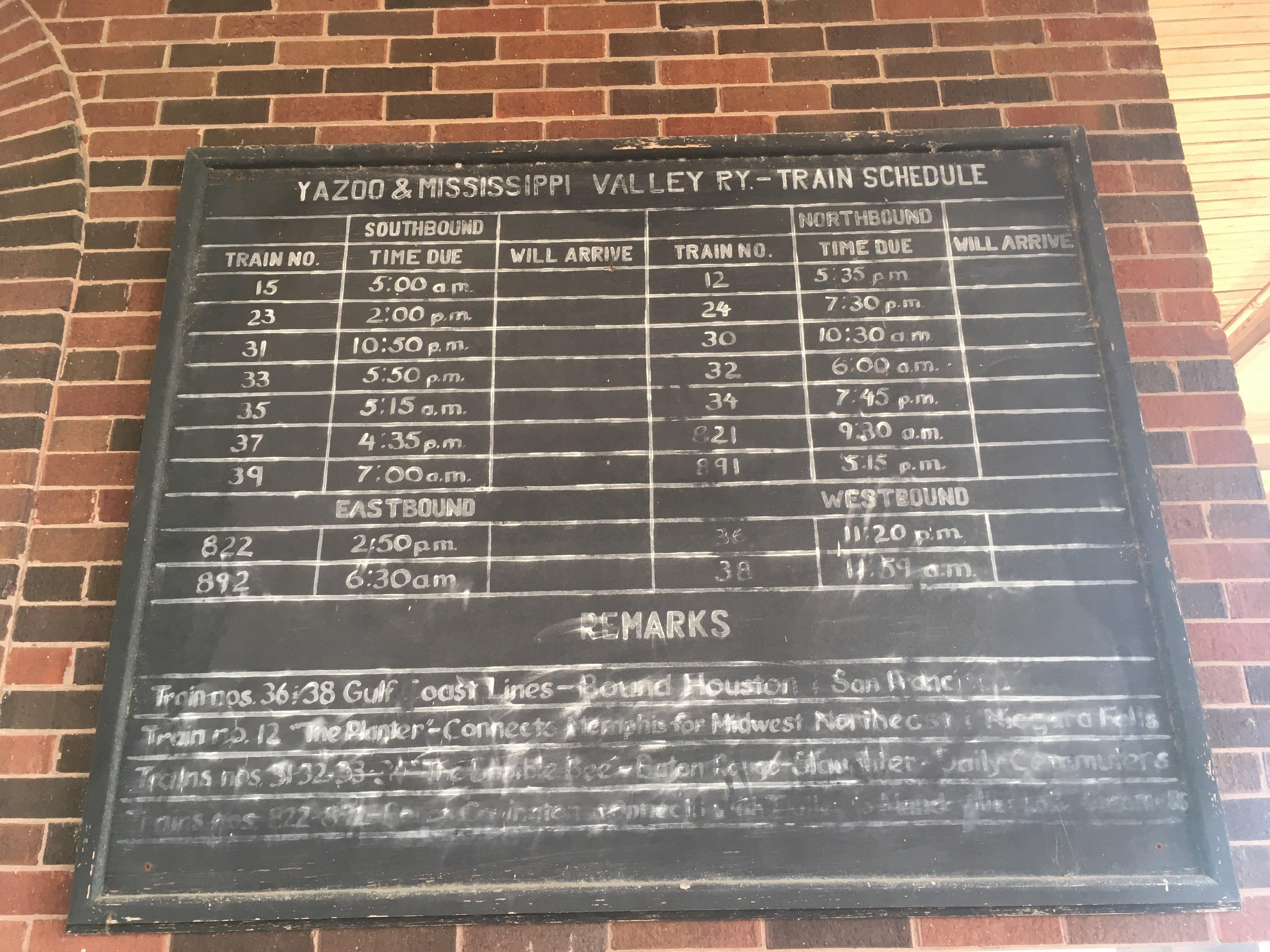 Yazoo & Mississippi Valley Train Schedule