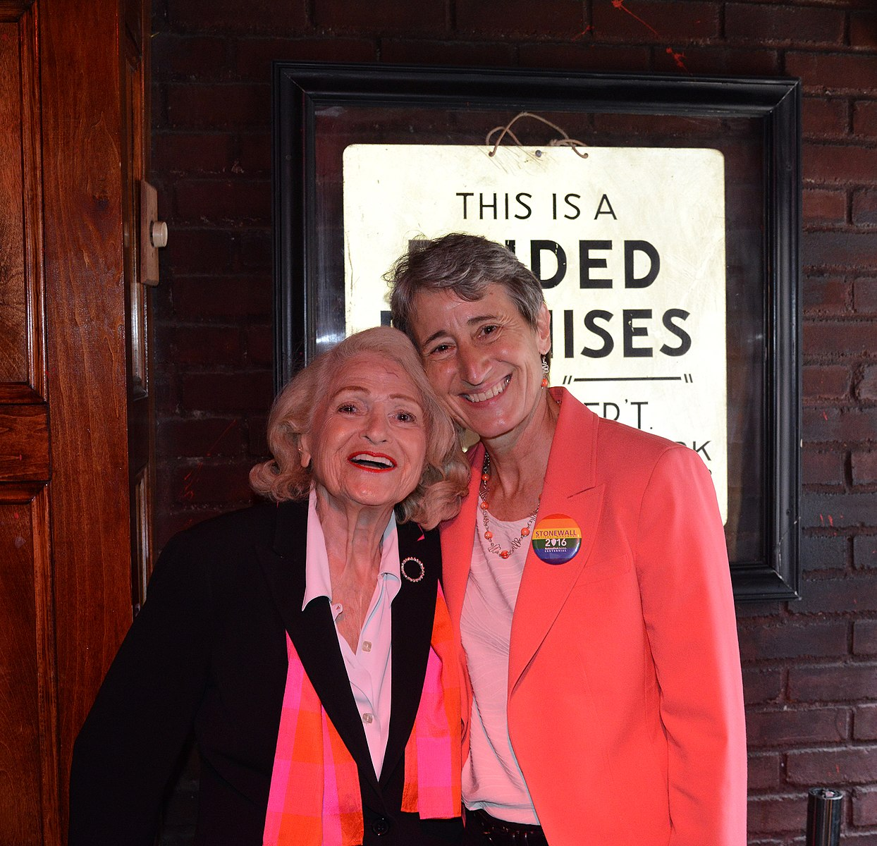 Edith Windsor with friend, Secretary Jewell, in 2016