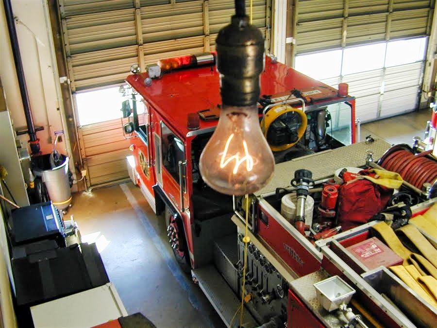 Here hangs the Centennial Light Bulb overlooking Fire Station #6's Fire Engine.