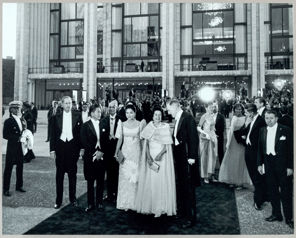 President Ferdinand Marcos of the Philippines, Imelda Marcos, Lady Bird Johnson, John D. Rockefeller, III and Others at the Opening Night of the Metropolitan Opera House, 1962