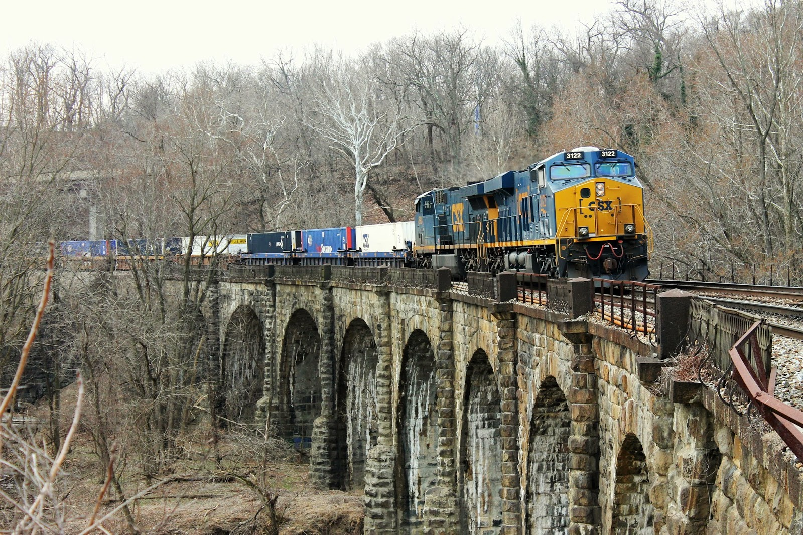 The viaduct is still able to support the massive CSX locomotives.
