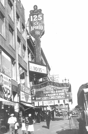 An early photo of the Apollo Theater.