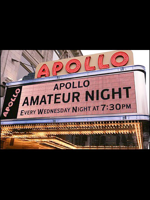 "Apollo sign headlining the ""Wednesday Amateur Night""."