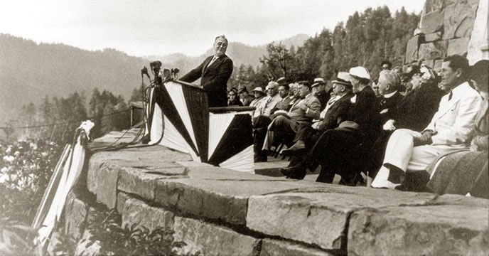 President Roosevelt Dedicating the Great Smoky Mountains National Park at the Rockefeller Monument, 1940