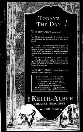 Advertisement for the theater's opening day