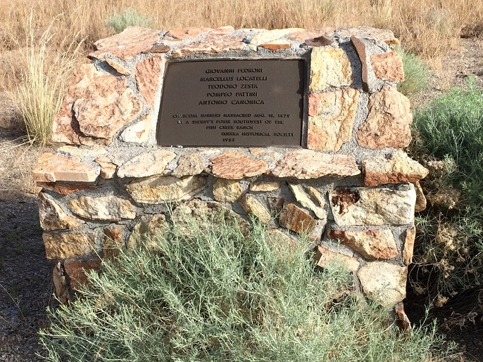 This historical marker at the Eureka Cemetery commemorates the five Italian men who lost their lives in the massacre.