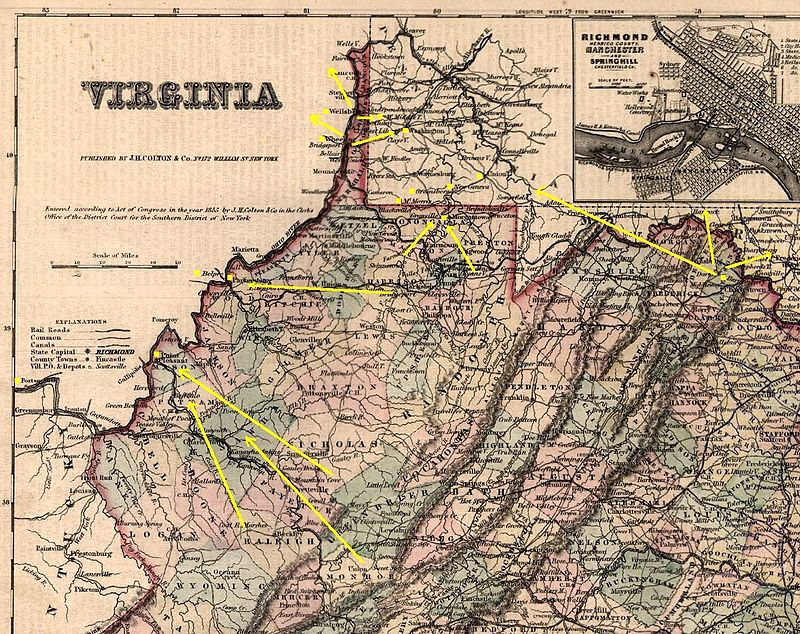 Map of Underground Railroad routes through western Virginia.