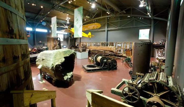 Cypress logs and other mementos from the boom period are on display. Credit: Louisiana State Museum