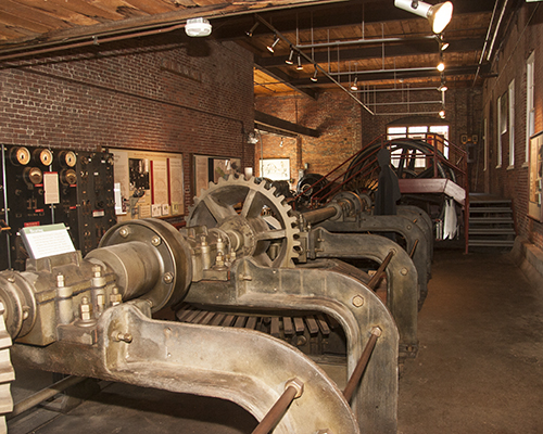 Mill machinery within the Power House Museum.