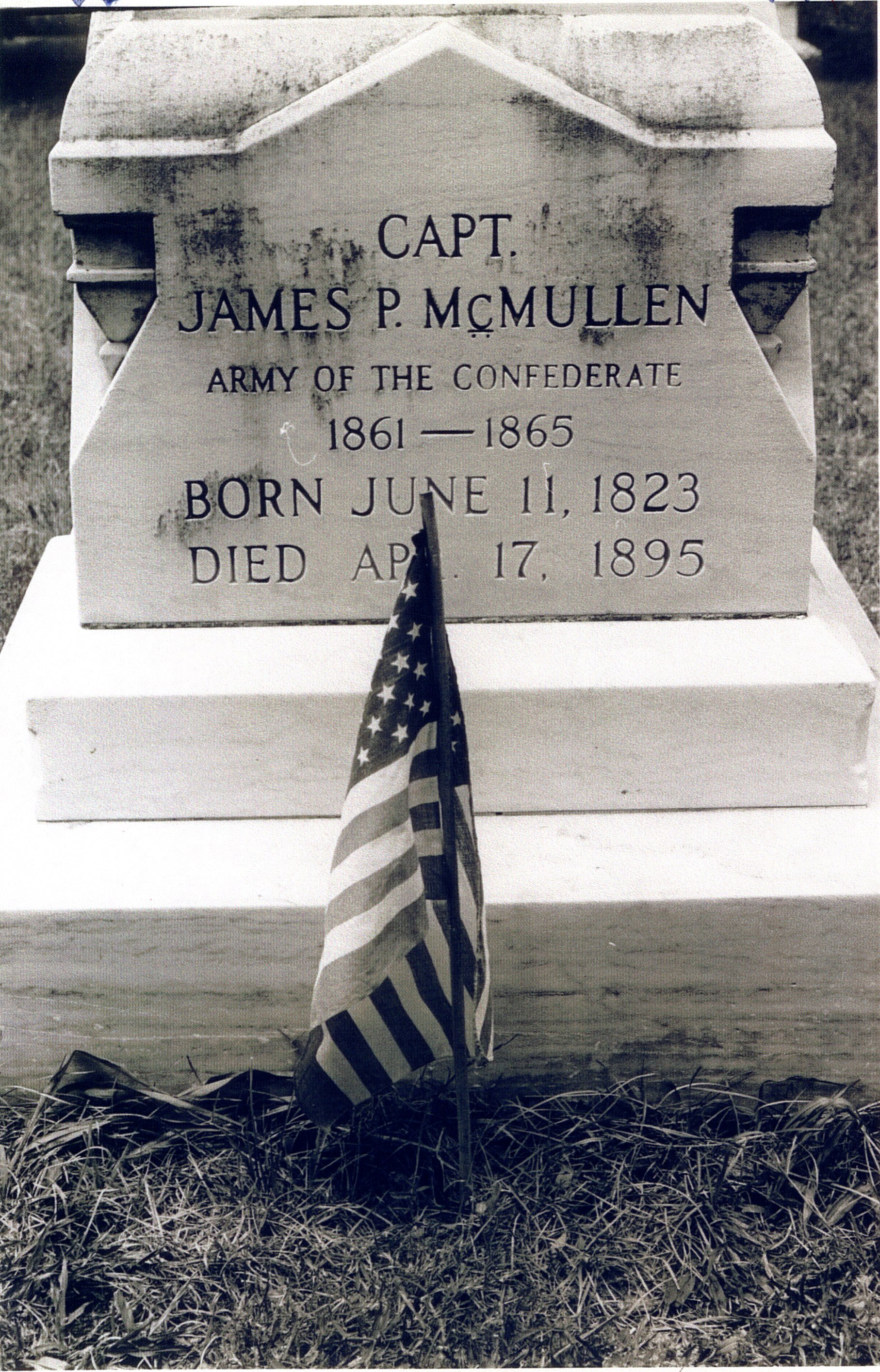 Tombstone of James P. McMullen, McMullen Cemetery, Clearwater, Florida, undated