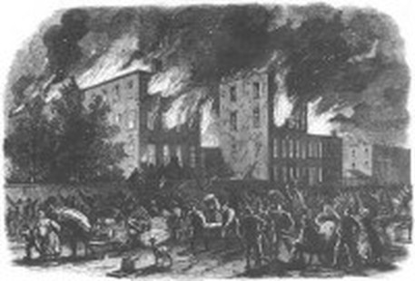Mob setting fire to buildings