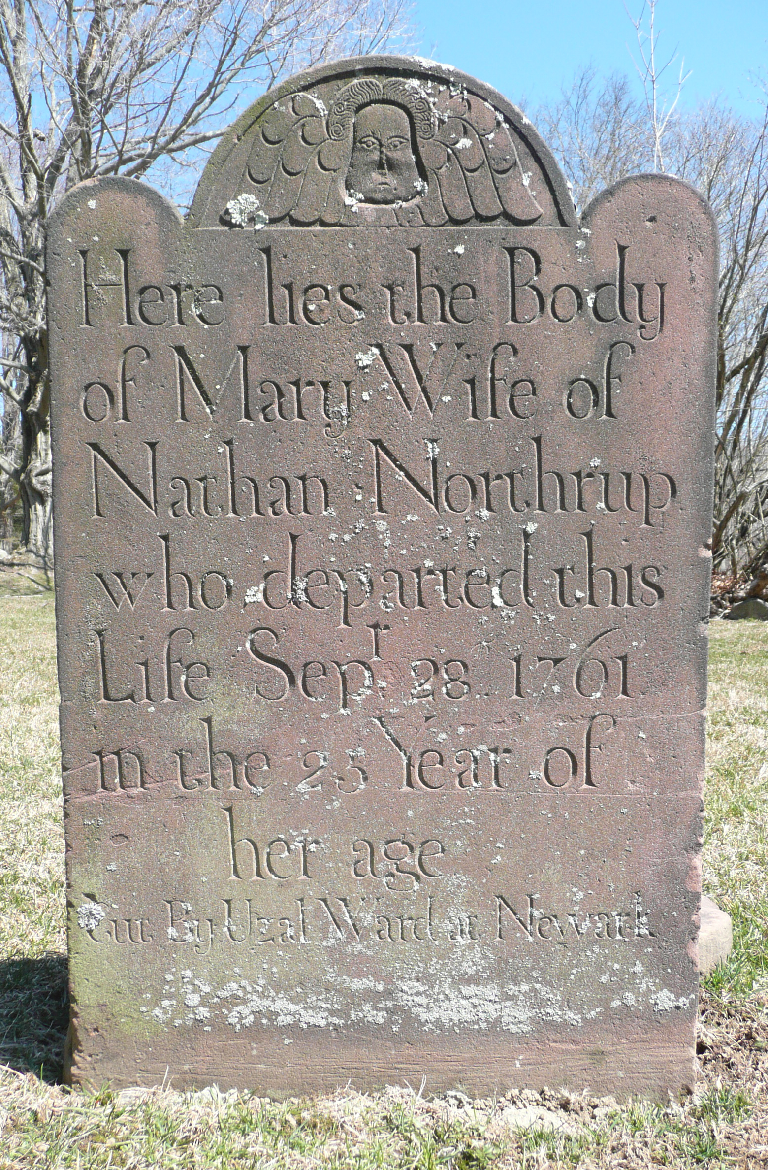 "The bottom line on the tombstone of Mary Northrup notes that it was ""Cut by Uzal Ward at Newark."""