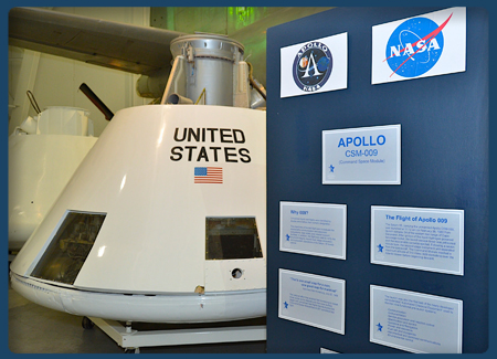 The restored Apollo Command Space Module (CSM) 009 is one of the highlights of the museum