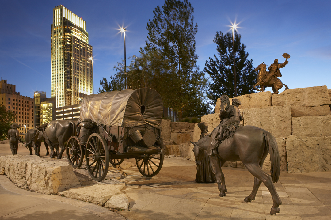 The Pioneer Courage monument is a tribute to pioneer families departing westward from Omaha