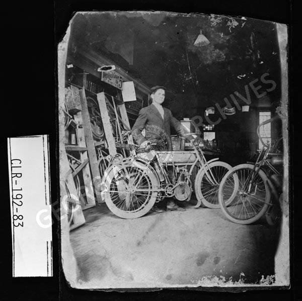 Photograph of man who may be Ben Epps with a motorcycle built by him,  Athens, Clarke County, Georgia, ca. 1900-1910