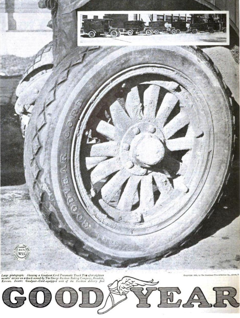 The Rushton Baking Company featured in an ad for Goodyear Tires in 1919
