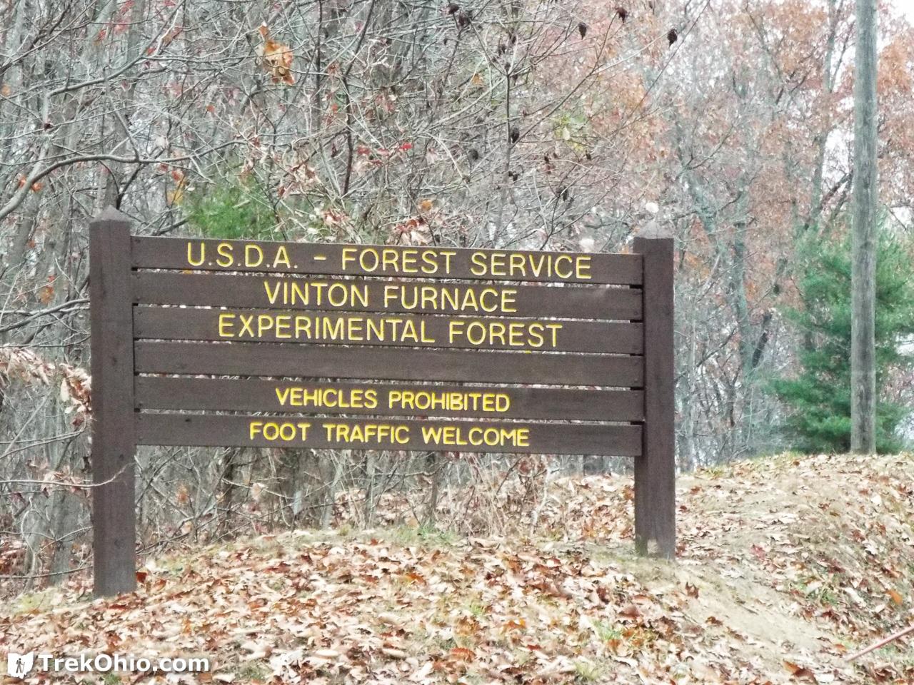 Vinton Furnace State Forest Entrance Sign
