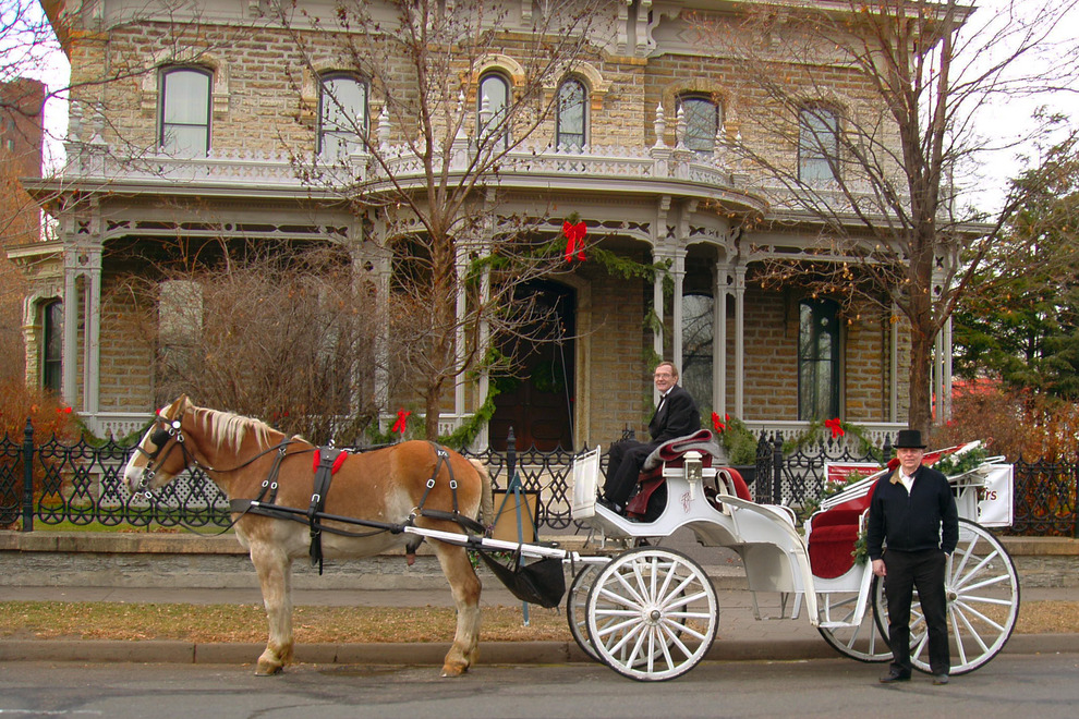 A horse and buggy outside of the home