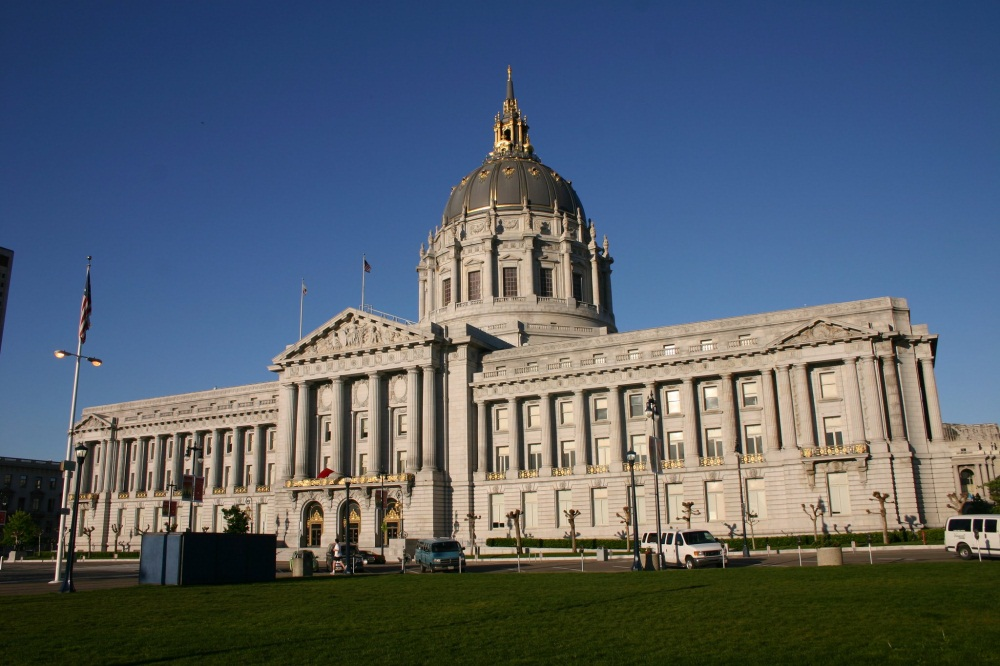 San Francisco's City Hall photographed from the Civic Plaza