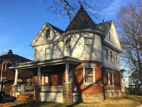 2159 West Blvd. Queen Anne Style house built in 1911 and designed by prominent Cleveland architect, George Grieble. The original owner/occupants were Dilworth M. Taylor, a civil engineer for the railroad, his wife-- Blanche, and their five children.