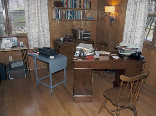 Carson's study has been recreated with original and replacement pieces. Image courtesy of Rachel Carson Landmark Alliance (reproduced under Fair Use)