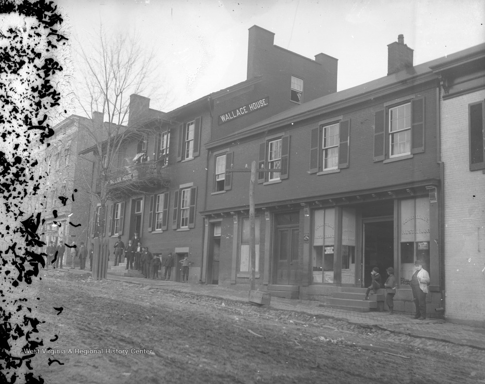 Undated photo of the Wallace House, which once stood at the corner of Wall Street and High Street.