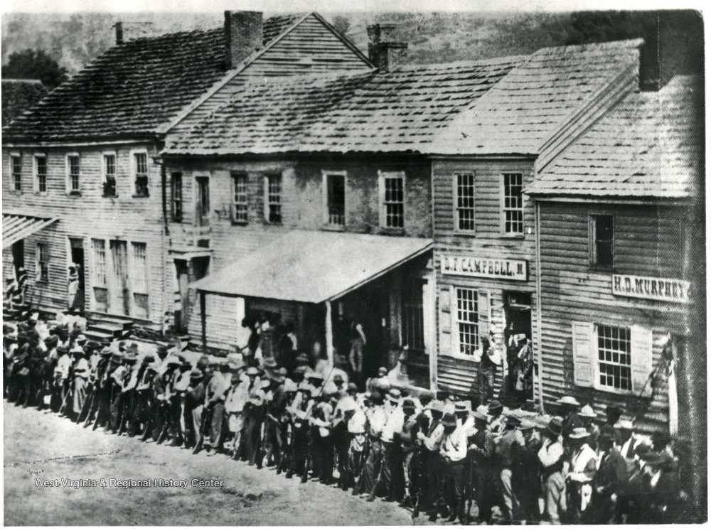 Volunteers for the Union Army gathering on High Street in Morgantown in 1861.