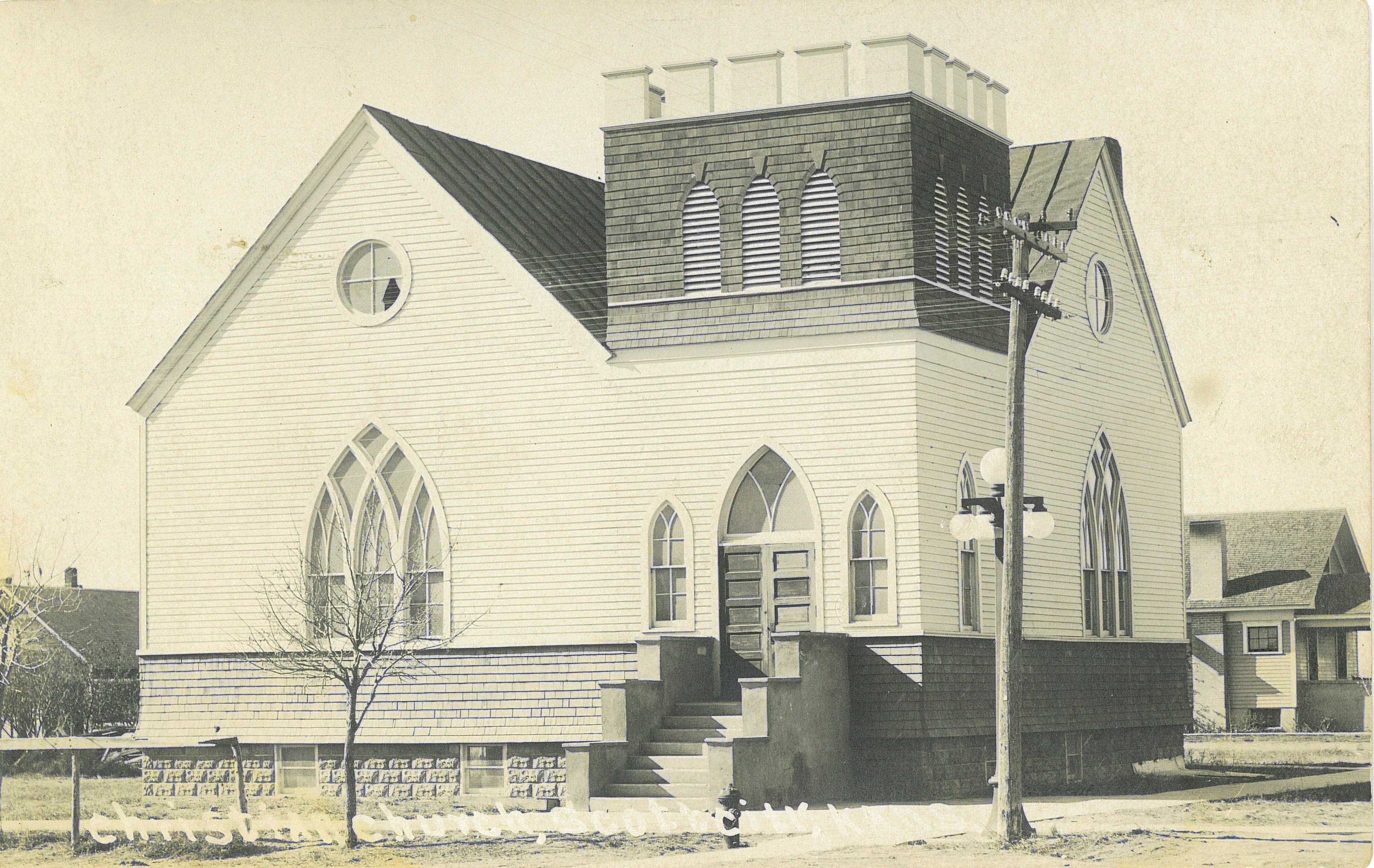 First Christian Church with added basement, 1917