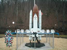 This space shuttle monument was donated by NASA and stands in the park.