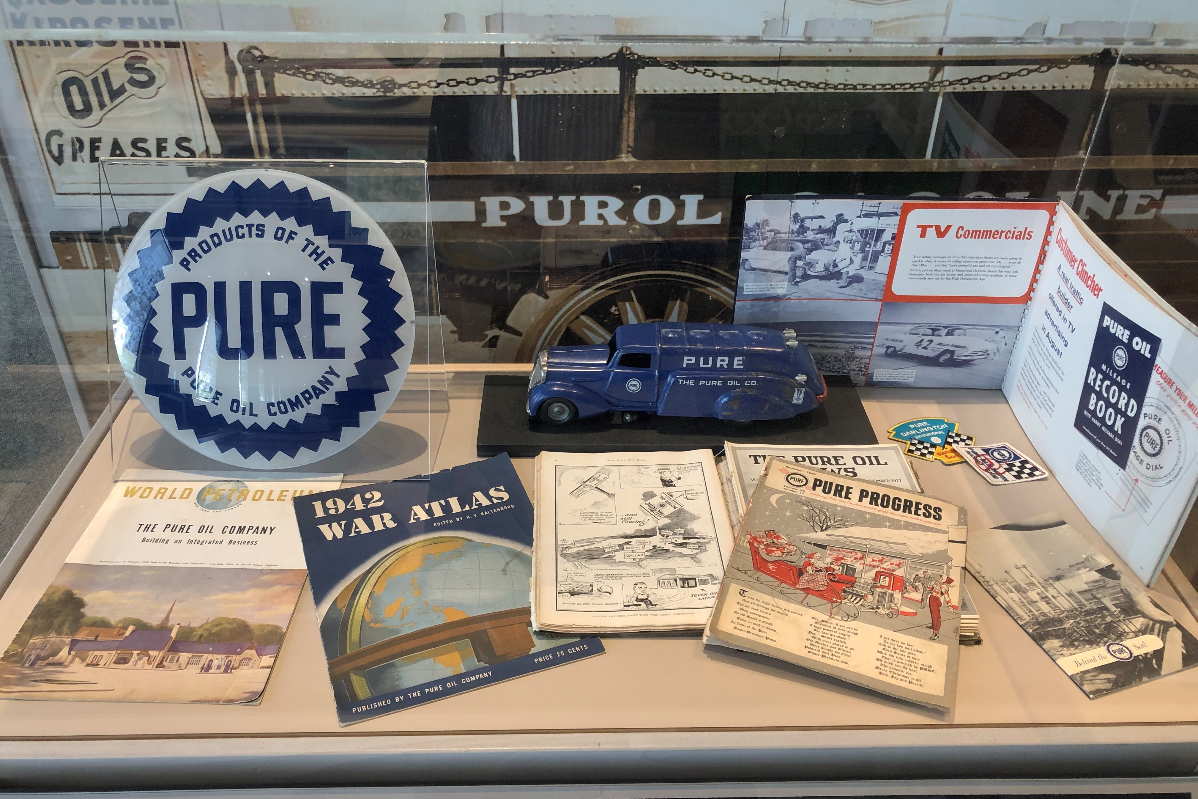 Pure Oil produced many promotional materials over the years and was a widely known brand. In the 1960's, Pure was ranked among the 100 largest industrial corporations in the United States.