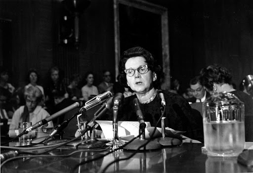 Rachel Carson testifying before Congress about why DDT should be banned from all use in the agriculture and big business industry