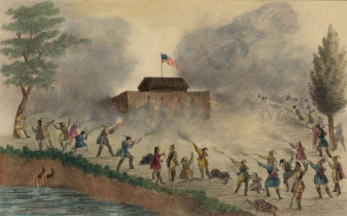Seminoles attacking a fort, possibly on the Withlacoochee River, in December 1835 during the Second Seminole War.