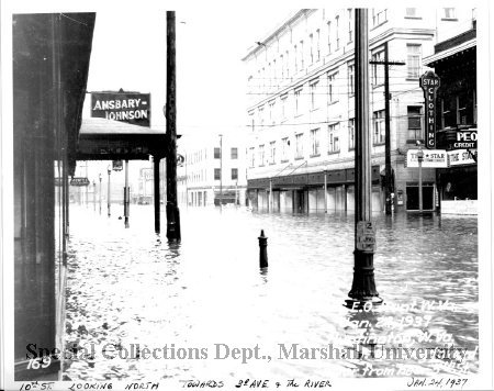 Amsbary's at its 321 10th St location during the 1937 flood