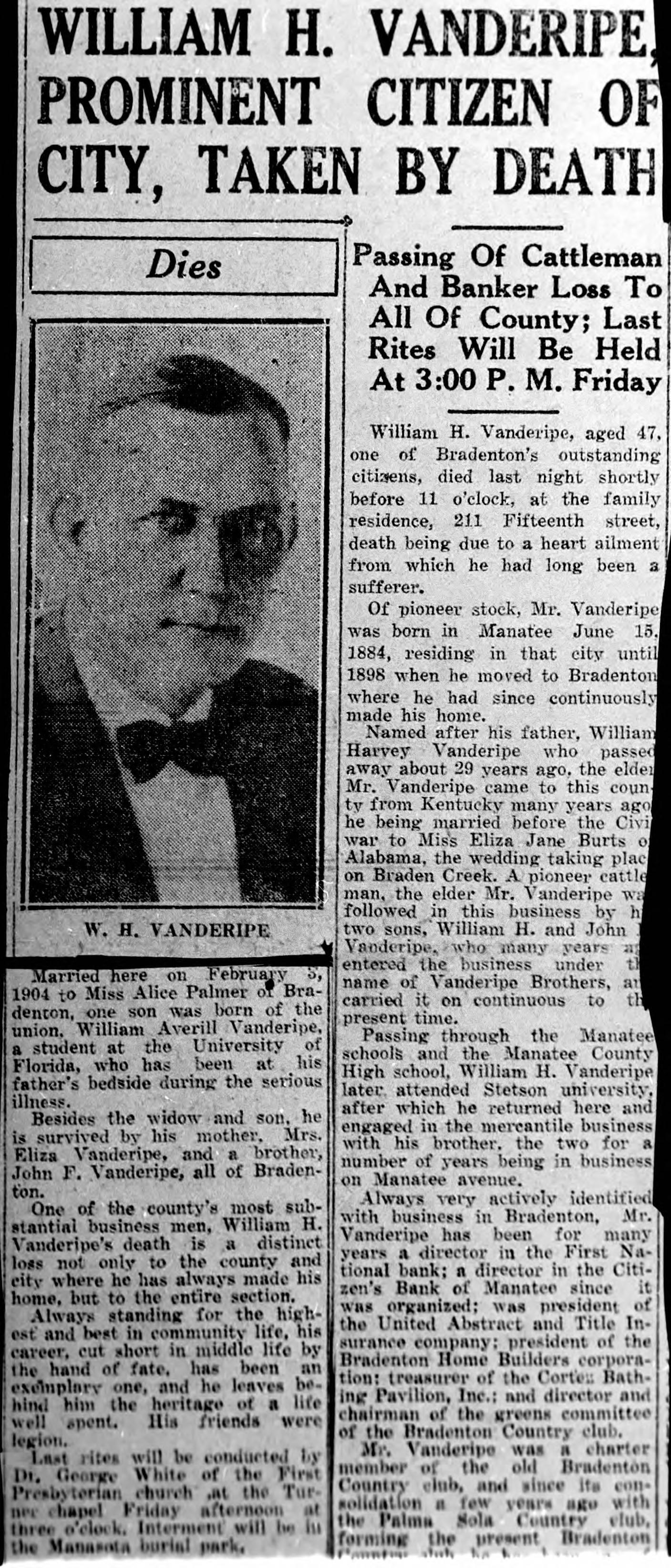 Obituary for William Harvey Vanderipe, 1930