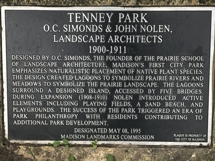 Tenney Park Historical Plaque.