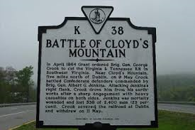 Sign posted on the site of The Battle Of Cloyd's Mountain