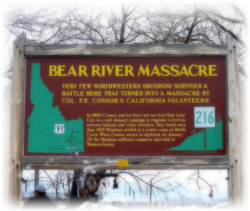 Sign at the entrance of the Bear River Massacre Site
